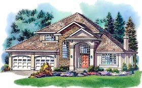 House Plan 58761 | European Style Plan with 1869 Sq Ft, 3 Bedrooms, 3 Bathrooms, 2 Car Garage Elevation