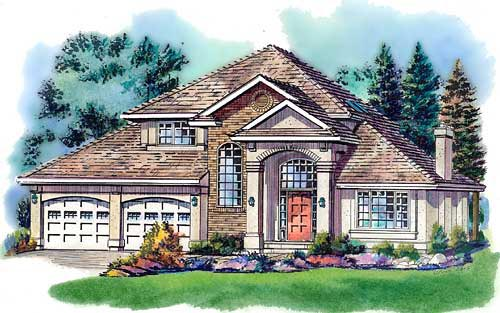 European House Plan 58761 with 3 Beds, 3 Baths, 2 Car Garage Elevation
