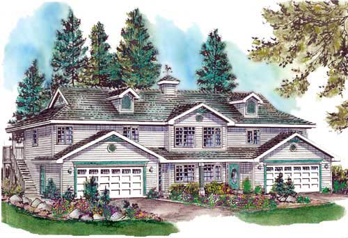 Traditional Multi-Family Plan 58762 Elevation