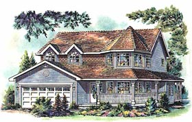 House Plan 58763 | Victorian Style Plan with 2650 Sq Ft, 4 Bedrooms, 3 Bathrooms, 2 Car Garage Elevation
