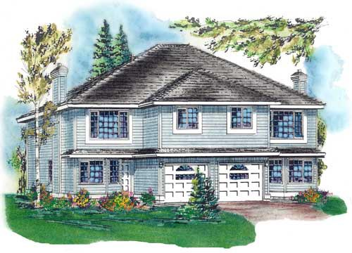 Multi-Family Plan 58769 with 6 Beds, 4 Baths, 2 Car Garage Elevation
