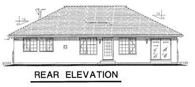 Ranch House Plan 58771 Rear Elevation