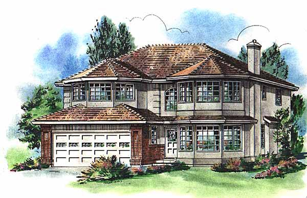 House Plan 58777 | European Style Plan with 2428 Sq Ft, 4 Bedrooms, 3 Bathrooms, 2 Car Garage Elevation