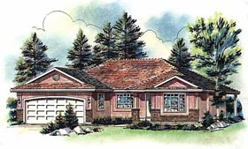 House Plan 58778 | Ranch Style Plan with 1461 Sq Ft, 3 Bedrooms, 2 Bathrooms, 2 Car Garage Elevation
