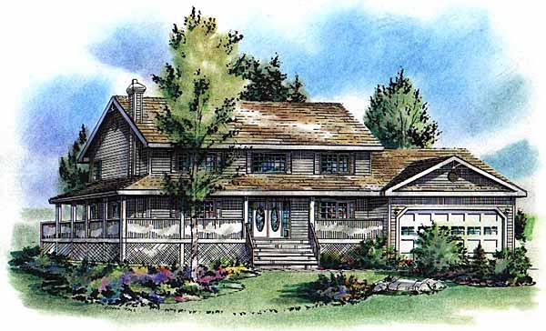 Country House Plan 58783 with 5 Beds, 4 Baths, 2 Car Garage Elevation