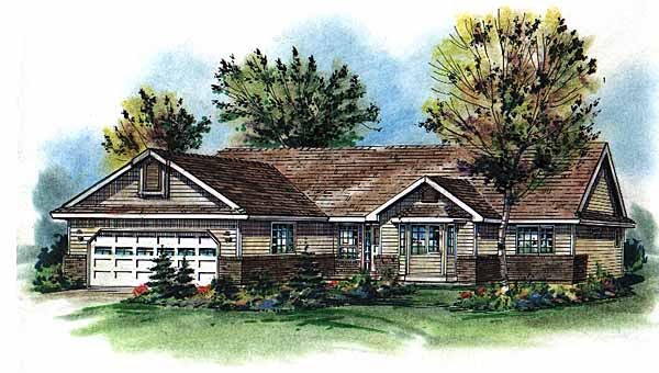 One-Story Ranch Elevation of Plan 58786