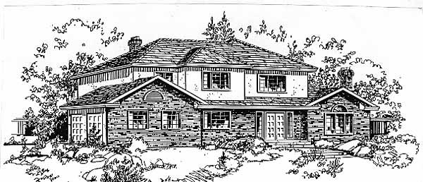 European House Plan 58802 with 5 Beds, 3 Baths, 2 Car Garage Front Elevation