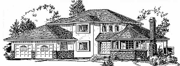 European House Plan 58803 Elevation
