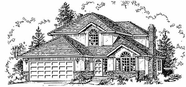 European House Plan 58804 with 3 Beds, 3 Baths, 2 Car Garage Elevation