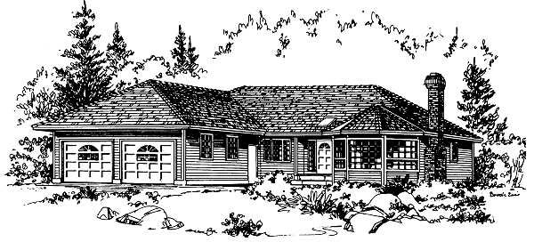 One-Story, Ranch House Plan 58805 with 3 Beds, 2 Baths, 2 Car Garage Elevation