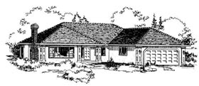 Florida , One-Story House Plan 58809 with 3 Beds, 2 Baths, 2 Car Garage Elevation