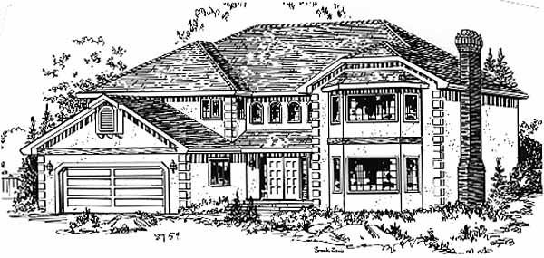 European House Plan 58810 with 5 Beds, 3 Baths, 2 Car Garage Elevation