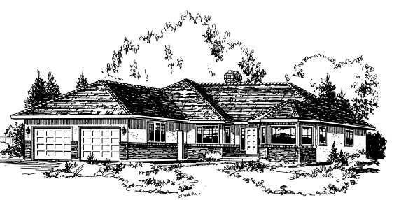 Ranch House Plan 58811 with 3 Beds, 2 Baths, 2 Car Garage Elevation