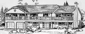 European House Plan 58820 with 5 Beds, 3 Baths, 2 Car Garage Elevation