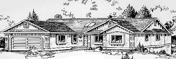 Ranch House Plan 58822 Elevation