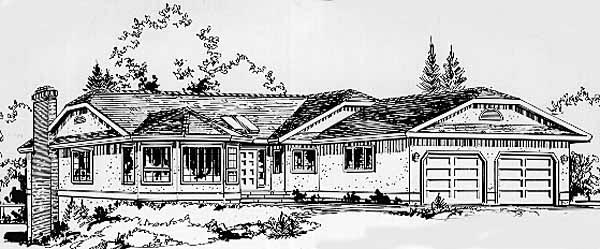 Ranch House Plan 58823 Elevation