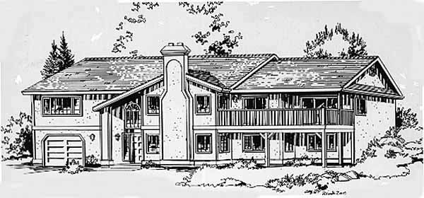 House Plan 58824 | European Style Plan with 1758 Sq Ft, 3 Bedrooms, 2 Bathrooms, 1 Car Garage Elevation