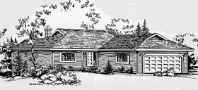 House Plan 58828 | Ranch Style Plan with 1284 Sq Ft, 2 Bedrooms, 2 Bathrooms, 2 Car Garage Elevation