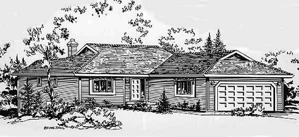 One-Story Ranch Elevation of Plan 58828
