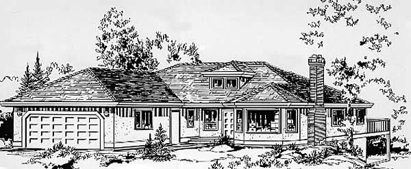 Contemporary House Plan 58829 Elevation