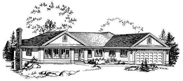 Ranch House Plan 58830 Elevation