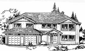 European House Plan 58832 with 3 Beds, 2 Baths, 2 Car Garage Elevation