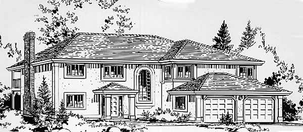 European House Plan 58834 with 3 Beds, 2 Baths, 2 Car Garage Front Elevation