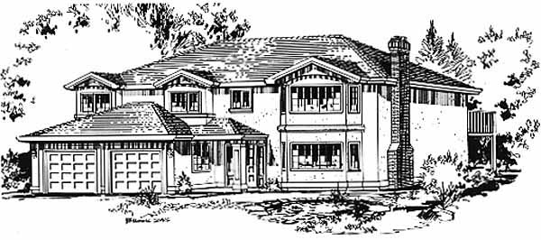 House Plan 58837 | European Style Plan with 1684 Sq Ft, 3 Bedrooms, 2 Bathrooms, 2 Car Garage Elevation