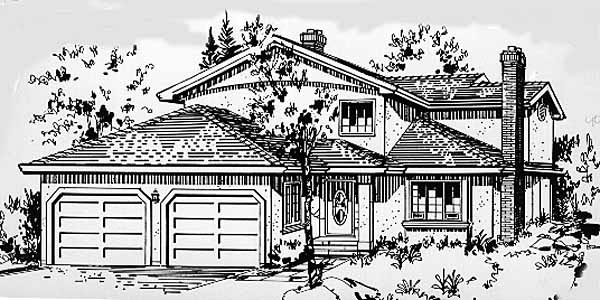 House Plan 58840 | European Style Plan with 1779 Sq Ft, 3 Bedrooms, 3 Bathrooms, 2 Car Garage Elevation