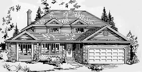 European House Plan 58843 with 4 Beds, 3 Baths, 2 Car Garage Elevation
