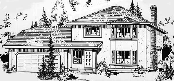 European House Plan 58844 Elevation