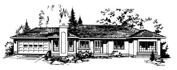 One-Story, Ranch House Plan 58853 with 2 Beds, 2 Baths, 2 Car Garage Elevation