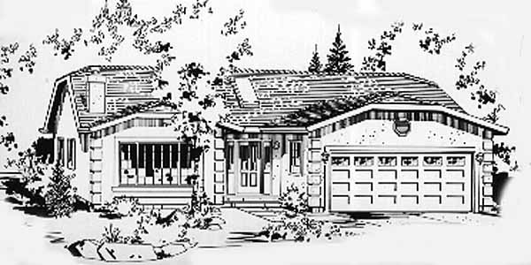 Ranch House Plan 58863 with 1 Beds, 1 Baths, 2 Car Garage Elevation