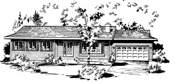 One-Story , Ranch , Elevation of Plan 58865