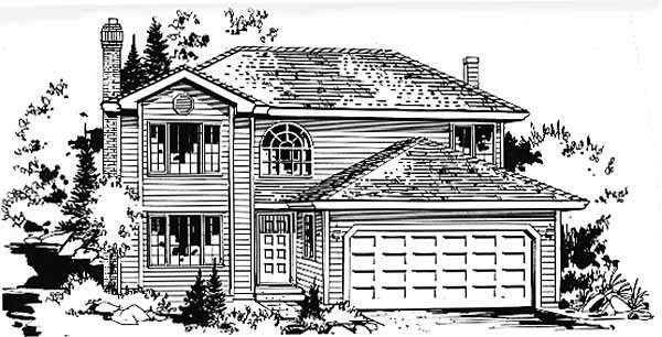 Narrow Lot, Traditional House Plan 58866 with 3 Beds , 3 Baths , 2 Car Garage Elevation