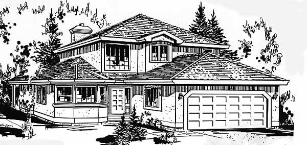 European, Narrow Lot House Plan 58867 with 4 Beds, 3 Baths, 2 Car Garage Elevation