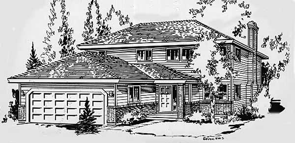 Contemporary Narrow Lot Elevation of Plan 58870