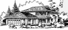 Contemporary House Plan 58871 with 4 Beds, 3 Baths, 2 Car Garage Elevation