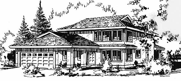 Contemporary Elevation of Plan 58871