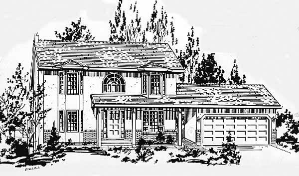 Colonial Elevation of Plan 58875