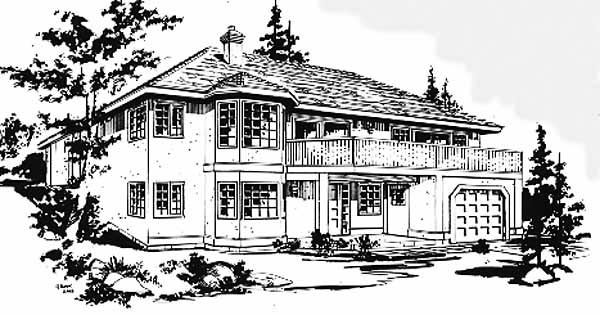 European House Plan 58878 with 2 Beds, 2 Baths, 2 Car Garage Front Elevation