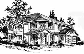 European House Plan 58882 with 3 Beds, 2 Baths, 2 Car Garage Elevation