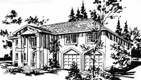 European House Plan 58883 with 3 Beds, 2 Baths, 2 Car Garage Elevation