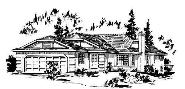 Narrow Lot, One-Story, Ranch House Plan 58884 with 2 Beds, 2 Baths, 2 Car Garage Elevation