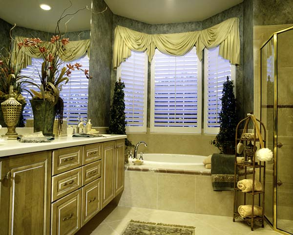 The master bath offers a quiet secluded spot in which to unwind.