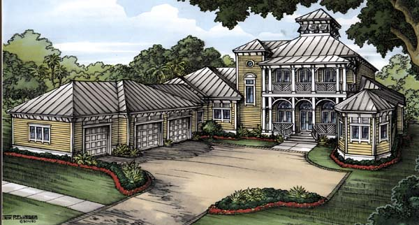House Plan 58905 | Florida Style Plan with 3760 Sq Ft, 4 Bedrooms, 5 Bathrooms, 3 Car Garage Elevation