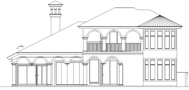 Florida Rear Elevation of Plan 58906