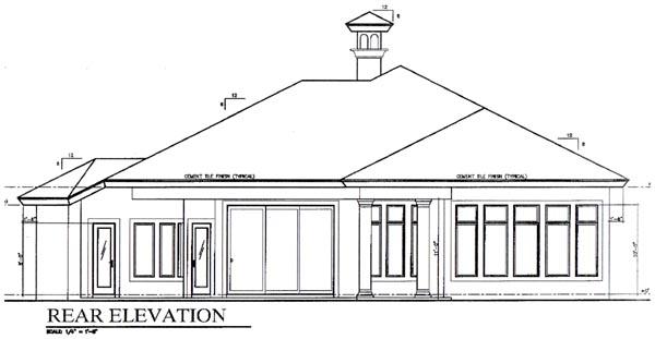 Florida House Plan 58924 Rear Elevation