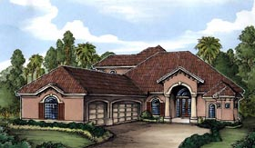 House Plan 58927 | Florida Style Plan with 3534 Sq Ft, 3 Bedrooms, 4 Bathrooms, 3 Car Garage Elevation