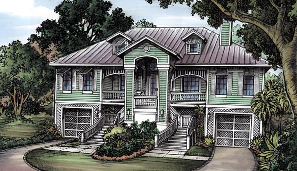 Florida, One-Story House Plan 58944 with 3 Beds, 2 Baths, 2 Car Garage Elevation